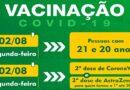 Pessoas com 21 e 20 anos serão vacinadas contra a Covid-19 nesta segunda-feira (02/08)