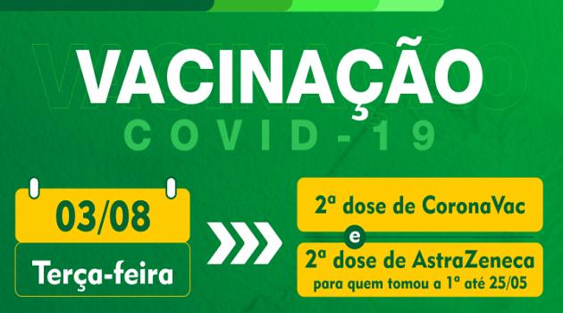 Vacinação contra a Covid-19, nesta terça-feira (03/08), será de segunda dose